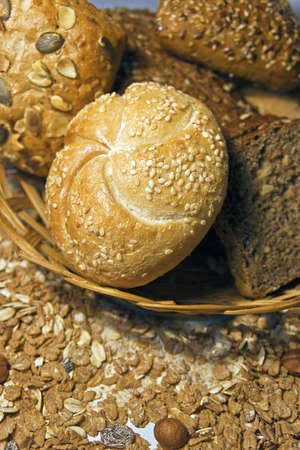 Assortment of freshly baked bread photo
