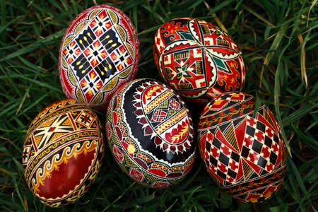 Traditional painted Easter eggs. Specific for the N-E of Romania. Stock Photo - 13324258