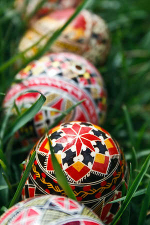 Traditional painted Easter eggs. Specific for the N-E of Romania. photo
