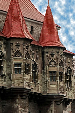 Detail from the Corvins Castle,  XV century , located in Romania, on the Center of Hunedoara City, southwestern part of Transylvania  Known as one of the frequently visited castles of Count Dracula