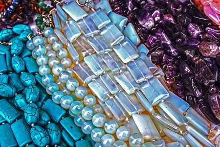 Different colored trinkets displayed in the waiting customers. Stock Photo - 14855284