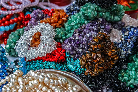 Different colored trinkets displayed in the waiting customers Stock Photo - 14855262