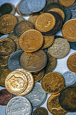 Old coins of different nationalities, from different periods photo