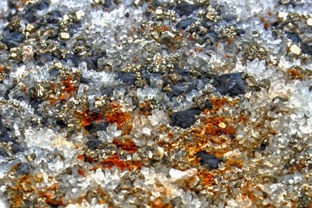Mineral crystals and stones in various structures Stock Photo