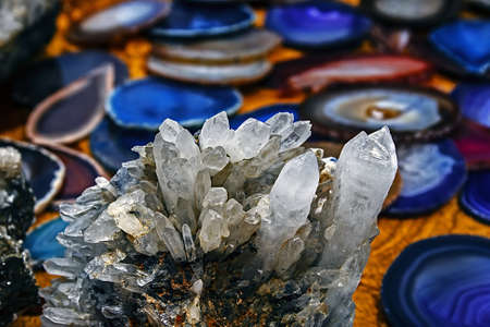quartz crystal: Mineral crystals and stones in various structures Stock Photo