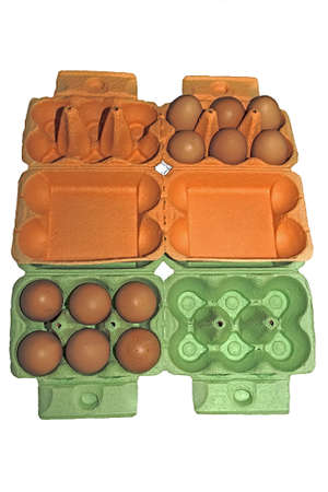 Twelve eggs arranged in a orange and green carton Stock Photo - 15129998