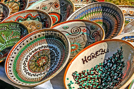 clay craft: Romanian traditional ceramic plates Horezu area, Romania