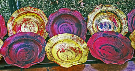 Art made ​​from ceramic plates and exposed for sale