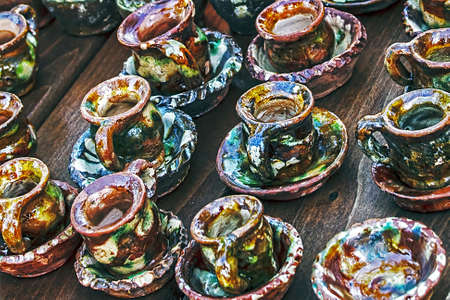 Romanian traditional pottery on display for sale