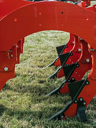 plough land: Equipment for agriculture, presented to an agricultural exhibition Detail Stock Photo