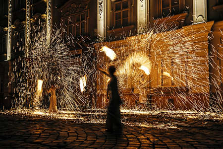 Fire show, set in a historical location in Timisoara, Romania photo