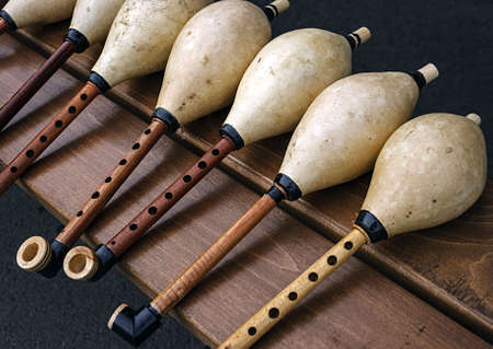 Whistles for bagpipes, made from different types of wood  photo