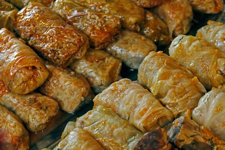 Cabbage cooked at a fair with traditional Romanian food. Cuisine stuffed cabbage are traditional for all areas in Romania.