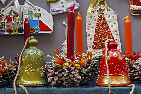 Christmas decorations made from clay by children  photo