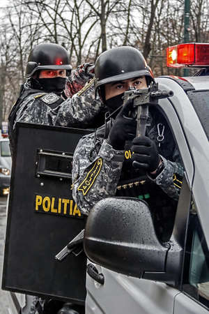 subversion: Romanian cops disguise on mission  Public demonstration at a celebration day