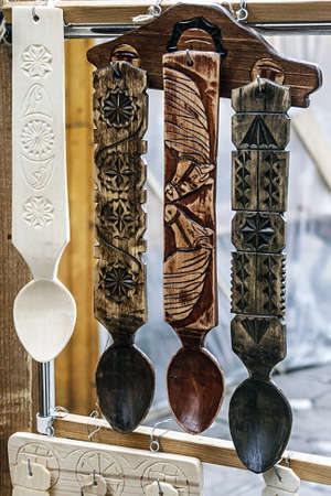 Wooden spoons, hand engraved with Romanian specific images