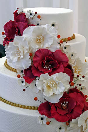 Wedding cake specially decorated with edible flowers  photo
