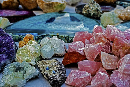 Mineral crystals and stones, with energy effect, in different structures  photo