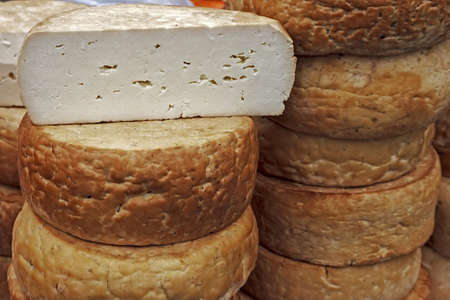Smoked Cheese exposed for sale  Romanian traditional area of Sibiu