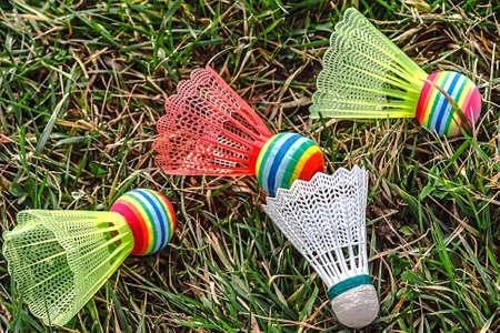 Badminton colored shuttlecocks placed on the grass  photo