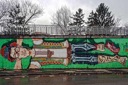 Suggestive Zeichnung Graffiti auf einer Straße Wand Standard-Bild - 17899764