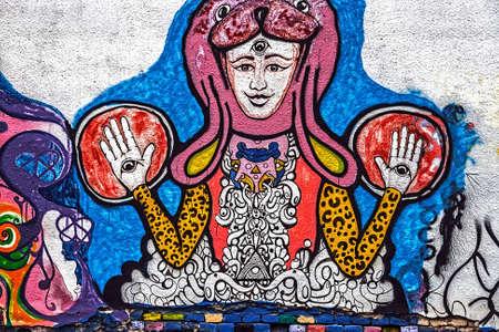 deface: Fancy drawing graffiti on a street wall