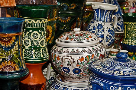 Romanian traditional pottery in the village Corund, Transylvania  Stock fotó