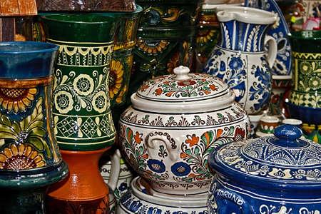 Romanian traditional pottery in the village Corund, Transylvania  Stock Photo