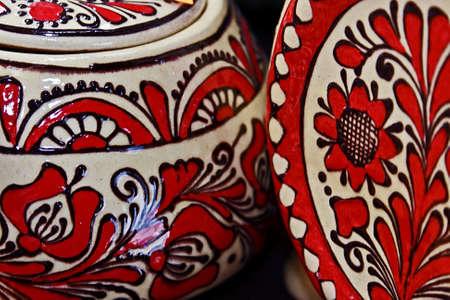 Romanian traditional pottery in the village Corund, Transylvania  photo
