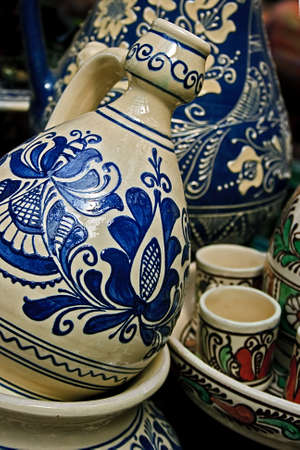 Romanian traditional pottery in the village Corund, Transylvania  Stock Photo