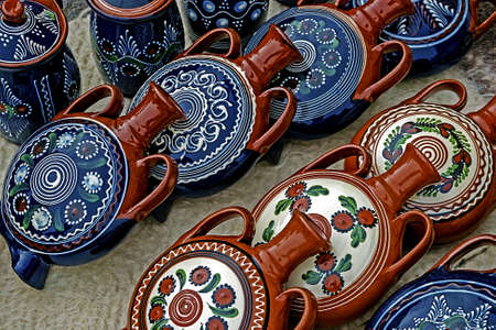 Romanian traditional ceramic in the form of jugs, painted with specific reasons Corund area, Transylvania  photo