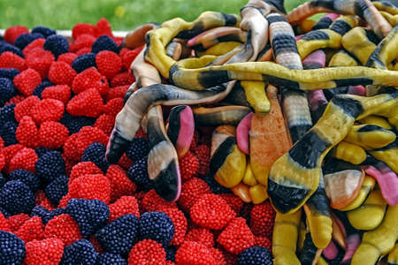 Colorful jelly form of raspberry,snakes, placed in bulk  Homemade sweets  photo
