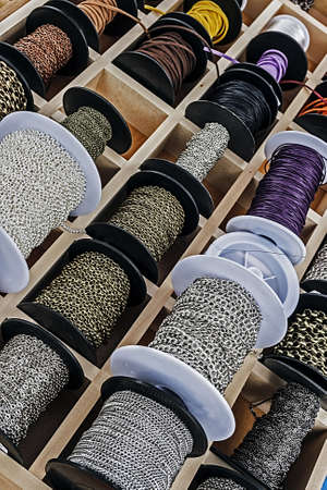 trinkets: Spools with colored chains for made trinkets