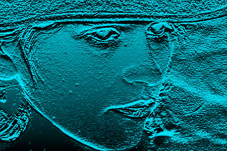 manipulated: Abstract blue marin background with a relief of feminine face Image digitally manipulated  Stock Photo