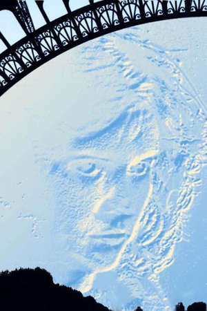 manipulated: Image with a stylized relief of feminine face on a background of the sky, under the dome of the Eiffel Tower in Paris  Image digitally manipulated  Stock Photo