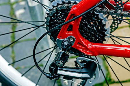 Detail of bicycle chain, derailleur and rear wheel   Stock Photo - 22657475