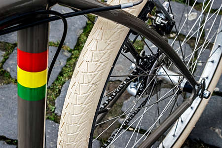 Detail of bicycle frame, chain, brake, derailleur and rubber rear wheel   Stock Photo - 22657467