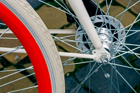Detail of the front wheels to the bike Stock Photo - 22664561