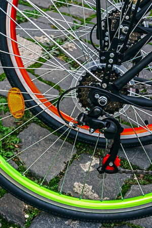 Detail of bicycles chains, derailleurs and rear wheels   Stock Photo - 22664569