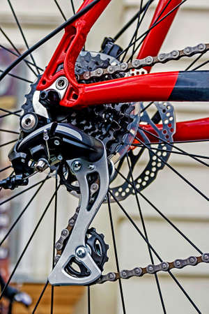 Detail of bicycle chain, derailleur and rear wheel Stock Photo - 22664580