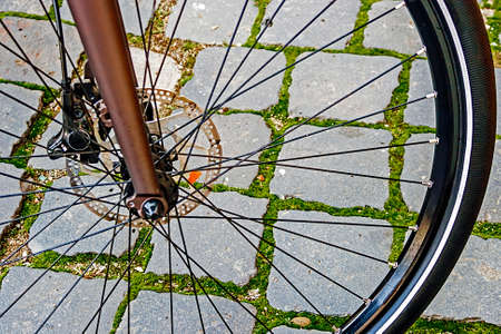 Detail of the front wheel to the bike  Stock Photo - 22664603