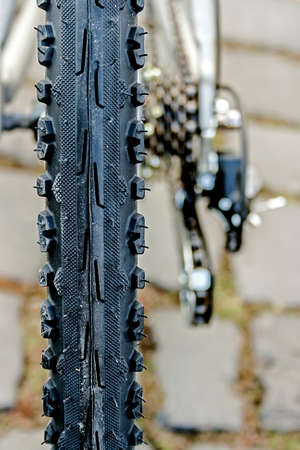 Detail of a rubber wheel mountain bike  Stock Photo - 22663079