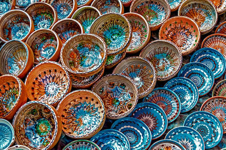Romanian traditional ceramic in the bowls form, painted with specific reasons Horezu area  photo