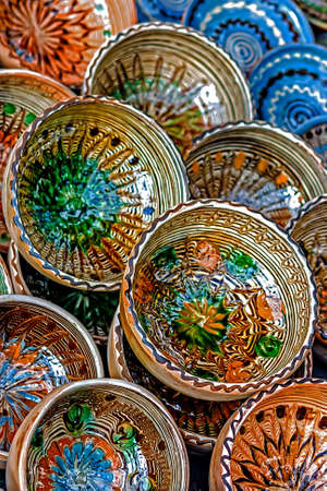 Romanian traditional ceramic in the bowls form, painted with specific reasons Corund area, Transylvania  Stock Photo