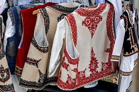 ethnology: Romanian traditional costumes from Banat area  Stock Photo