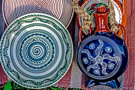 Romanian traditional ceramic, painted with specific reasons from Corund area, Transylvania  photo