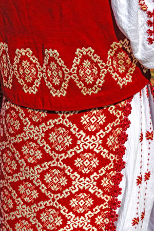 romanian: Detail from traditional Romanian folk costume for women, specific on Banat area