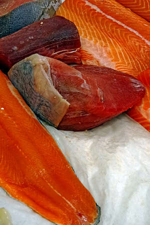fishy: Fish fresh fillet exposed for sale on the market
