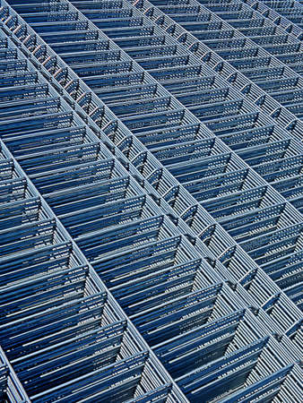Structure of iron stored for use in construction. photo