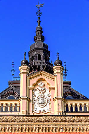 episcopal: NOVI SAD, SERBIA - OCTOBER 11, 2014: Architectural detail with episcopal palace tower.